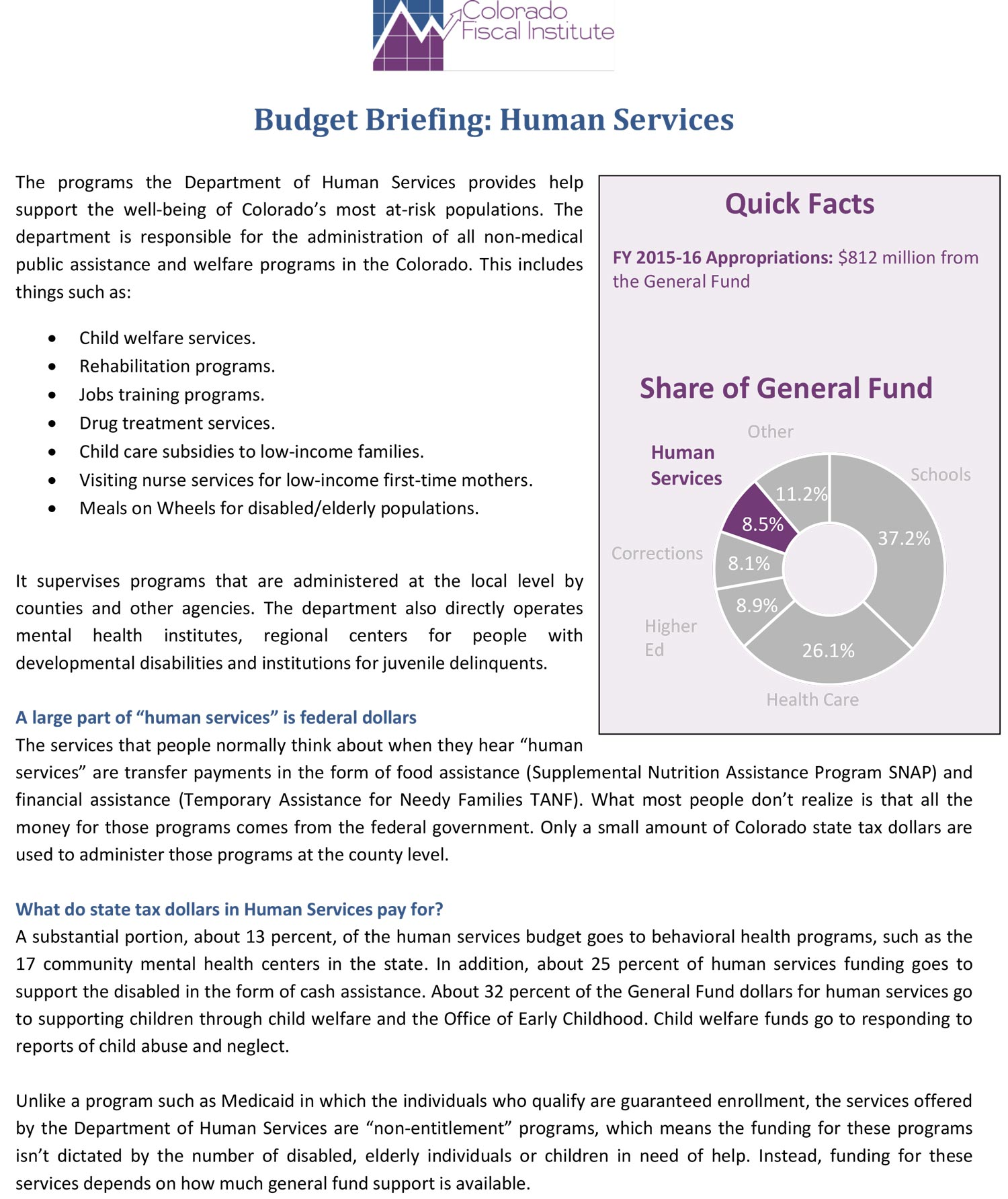 Budget Briefing: Human Services