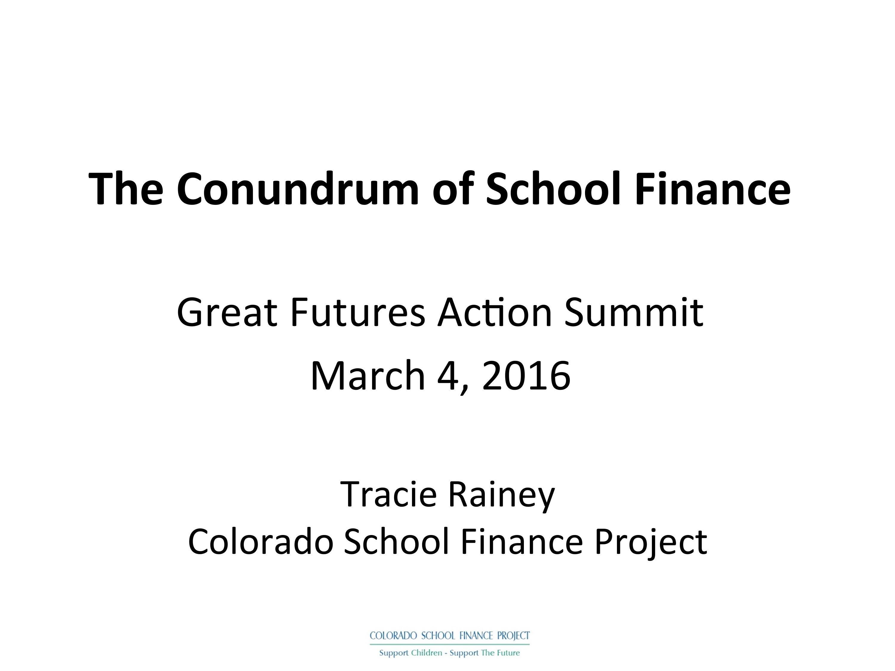 Advanced School Finance and TABOR