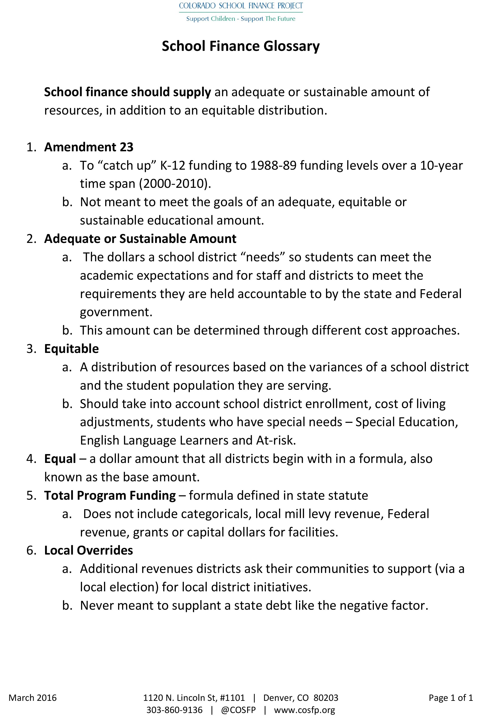 School Finance Glossary